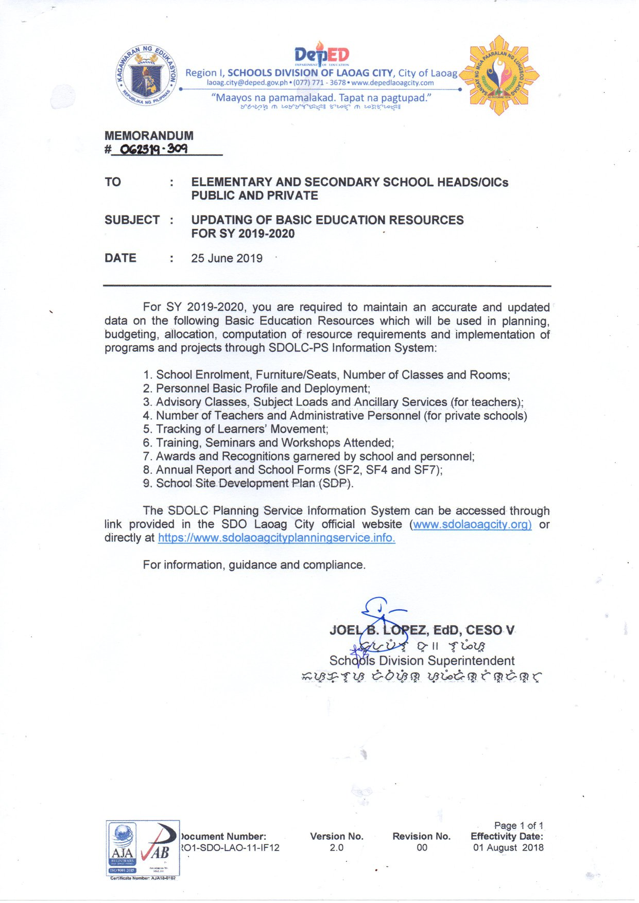 Basic Education Resources MEMO